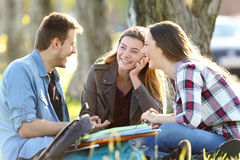 Three students talking after classes outside. Three happy students talking after classes sitting on the grass outside in a park royalty free stock photos
