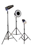 Three studio flash on tripod Stock Image