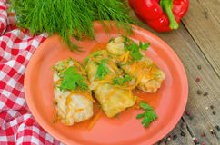 Three stuffed cabbage rolls. Three stuffed cabbage roll on the plate with a dill Stock Photo