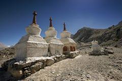 Three stupa and blue sky at Diskit monastery, Ladakh, India Stock Photography