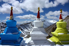 Three stupas high in himalayas Stock Images