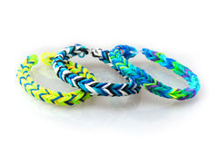 Three style colorful rubber bracelets Stock Photography