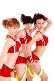 Three styled professional cheerleader. Royalty Free Stock Photos