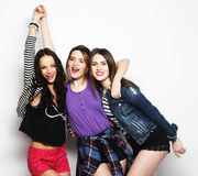 Three stylish sexy hipster girls best friends. Stock Photography