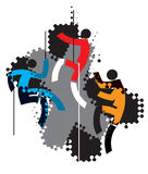 Three stylized climbers. Three icons of climbers on the grunge background x-shaped. Suitable for printing T-shirts.Vector illustration Royalty Free Stock Photos