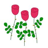 three stylized red roses with green leaves, simple vector hand-drawn outline colored illustration stock illustration