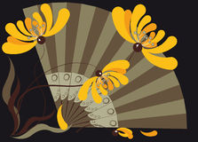 Three stylized yellow chrysanthemums and fan. Composition in the Oriental style of the fans and yellow chrysanthemums Stock Photo