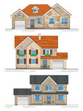 Three suburban houses Royalty Free Stock Photography