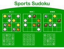 Three sudoku grids with cartoon sports balls Stock Photo