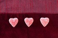 Three Sugar Candy Hearts Royalty Free Stock Images