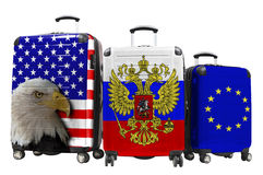 Three suitcases with the image of the flags Royalty Free Stock Image