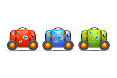 Three suitcases with wheels Royalty Free Stock Photos