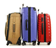 Three suitcases on white Royalty Free Stock Image
