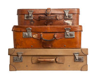 Three suitcases on white background, clipping path. Royalty Free Stock Images