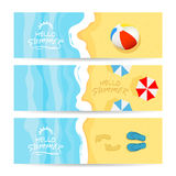 Three summer cards with sea and sandy beach royalty free illustration