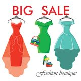 Three summer dresses.Sale in Fashion boutique Stock Image