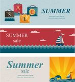 Three summer sale banners. Shopping bags with the word sale on them, boat and sea and sunset summer view Stock Image