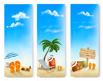 Three summer vacation banners. Stock Photos