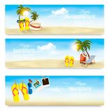 Three summer vacation banners. Royalty Free Stock Photography