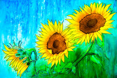 Three Sunflowers Royalty Free Stock Photography