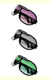 Three sunglasses. Magenta, blanck and white and green sunglasses over white Stock Photography