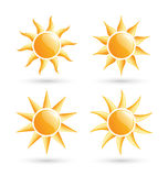 Three suns icons with shadow isolated on white Stock Photography