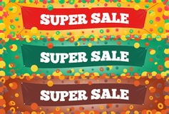 Three Super Sales Banners Stock Photos