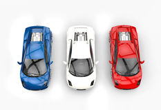 Three Supercars Top View Stock Images