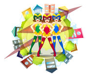 Three superheroes and neighborhood background Royalty Free Stock Photos