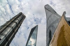 Three supertall skyscrapers in Lujiazui, Shanghai royalty free stock images