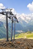 Three supports of  ropeway. Stock Image