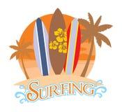 Three surf board on a beach Stock Photography