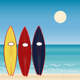 Three surf Boards, beach holidays. Extreme sport. Royalty Free Stock Images