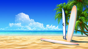 Three surf boards on idyllic tropical sand beach Stock Photo