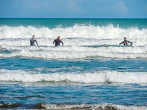 Surfers on Piha Beach, Auckland, New Zealand stock photos