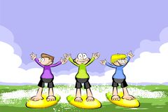 Three surfers on their boards Stock Photo