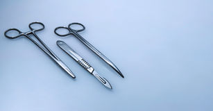 Three surgical instruments Royalty Free Stock Images