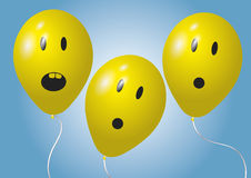 Three surprised balloons Stock Photography