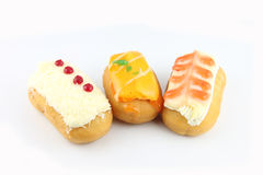 Three Sushi Donuts. Sushi Donuts on a white background royalty free stock photos