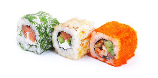 Three sushi rolls Stock Images