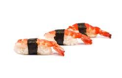 Three Sushi with Shrimps Royalty Free Stock Photo