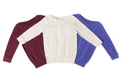Three sweaters isolated Royalty Free Stock Images