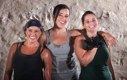 Three Sweaty Boot Camp Workout Women Royalty Free Stock Photo