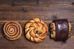 Three sweet buns Stock Photo