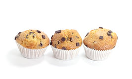 Three sweet chocolate muffins. Isolated on white background royalty free stock image