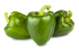 Three sweet green peppers Stock Image