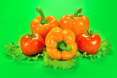 Three sweet pepper and two tomatoes with a lettuce leaf on a green background Stock Images