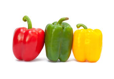 Three sweet peppers Stock Photography