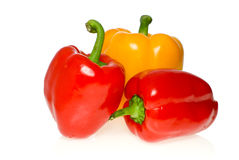 Three sweet peppers. Isolated on the white background Stock Photos