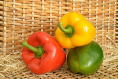 Three sweet peppers Stock Photos